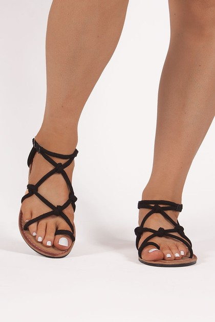 EMILY Black Rope Sandals