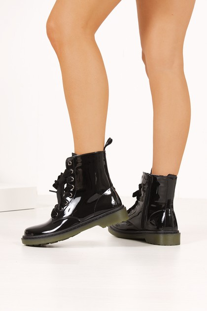 ERIN Black High Shine Velvet Lace Ankle Boots
