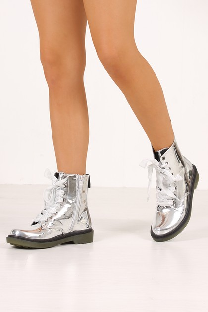 ERIN Silver High Shine Metallic Velvet Lace Ankle Boots