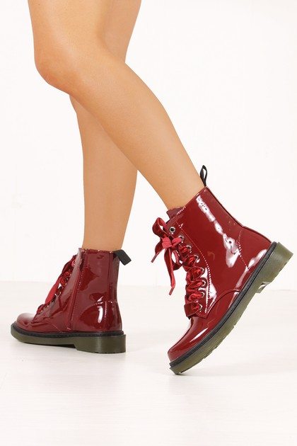 ERIN Wine High Shine Velvet Lace Ankle Boots