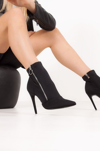 ESTHER Black Lycra Zip Detail Heeled Ankle Boots