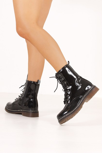 EVA Black High Shine Lace Up Ankle Boots