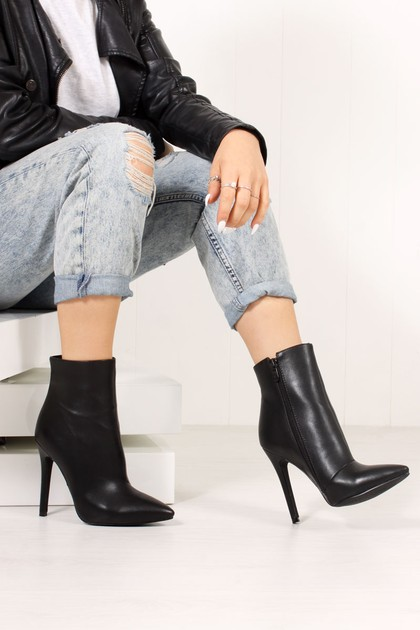 FAITH Black Faux Leather Stiletto Ankle Boots