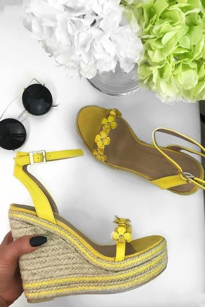 FARRAH Yellow Daisy Espadrille Wedges