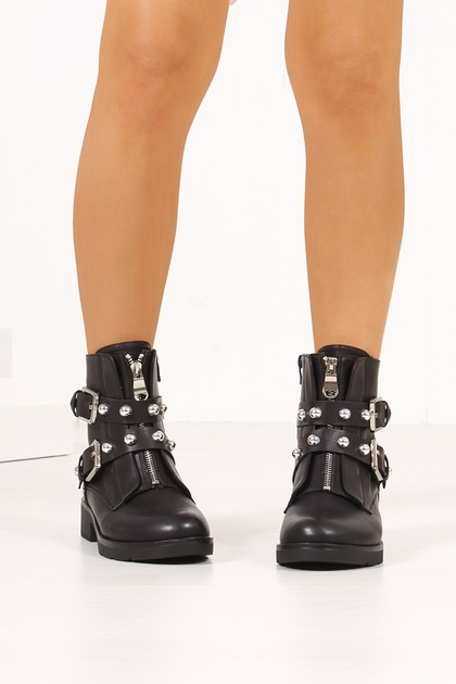 FIONA Black Buckle Strap Silver Stud Zip Front Ankle Boots