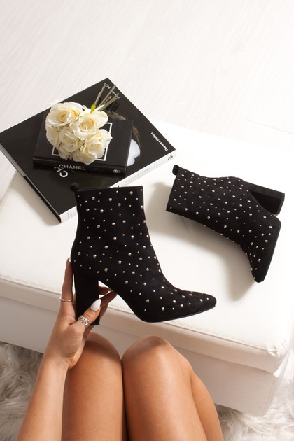 FLEUR Black Faux Suede Studded Heeled Ankle Boots