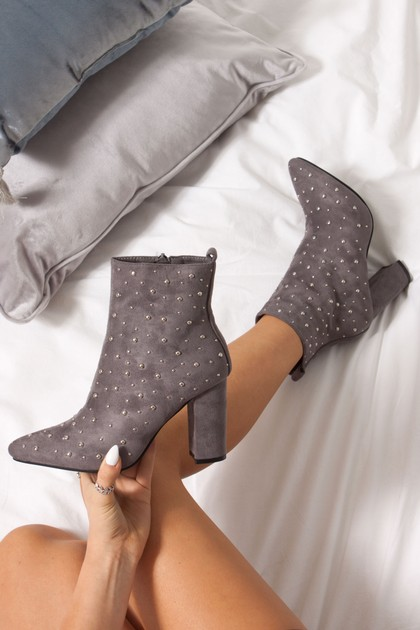 FLEUR Grey Faux Suede Studded Heeled Ankle Boots
