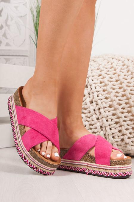ROXIE Fuchsia Cross Strap Aztec Flatform Sandals