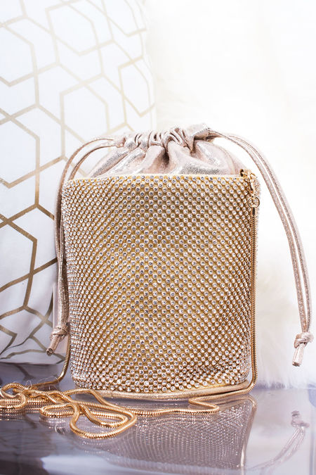 CAMILA Gold Diamante Mini Bucket Bag