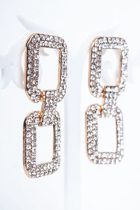SAFFIE Gold Diamante Link Earrings