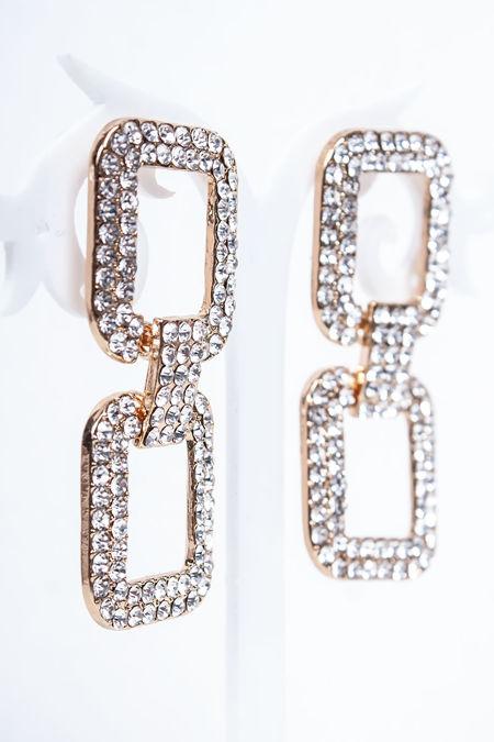 SAFFIE Gold Diamante Link Earrings
