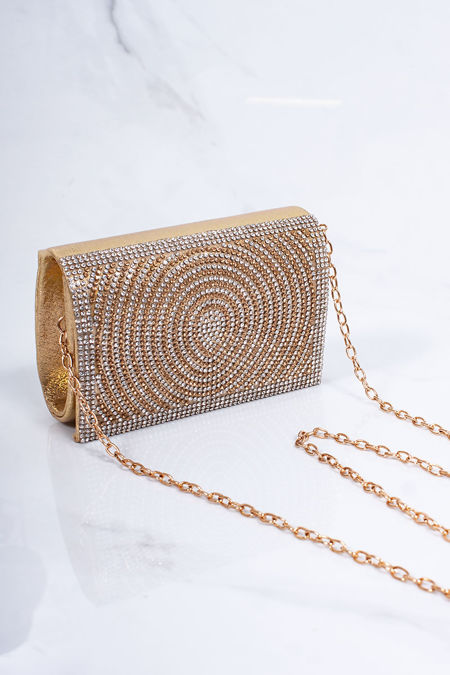 MOLLY Gold Diamante Mini Clutch Bag