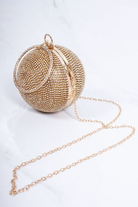 SADIE Gold Diamante Sphere Clutch Bag