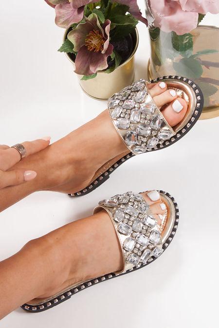 POLLY Gold Jewel Embellished Strap Sliders