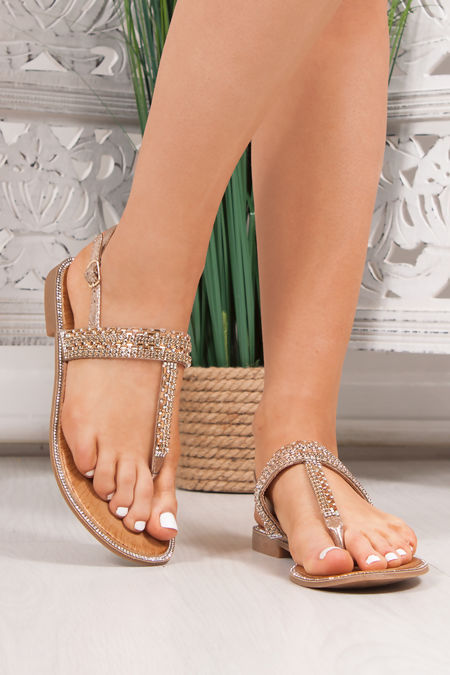 WILLOW Gold Diamante Strap Toe Post Sandals