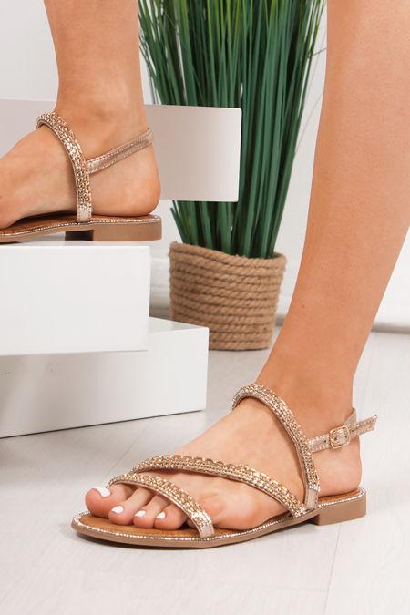 JASMINE Gold Diamante Strap Flat Sandals
