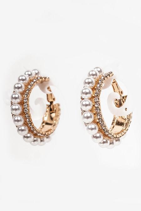 DAWN Gold Pearl And Diamante Hoop Earrings