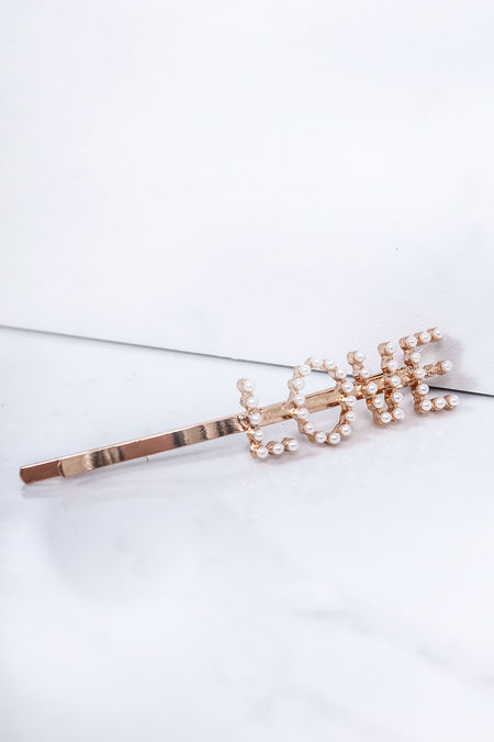 IRIS Gold Love Pearl Hair Slide