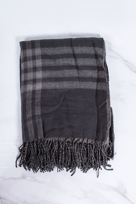 JHENE Grey Check Oversized Scarf
