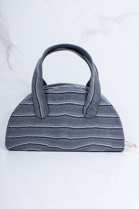 AVERY Grey Croc Half Moon Bag
