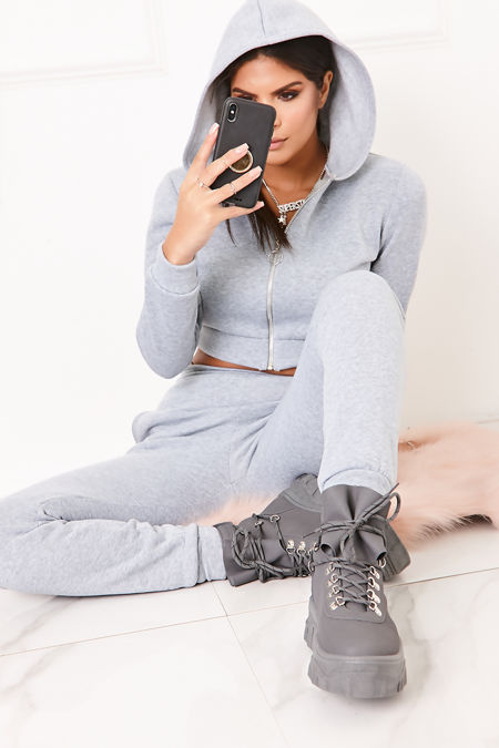 TILLY Grey Cropped Zip Front Co-Ord Lounge Set