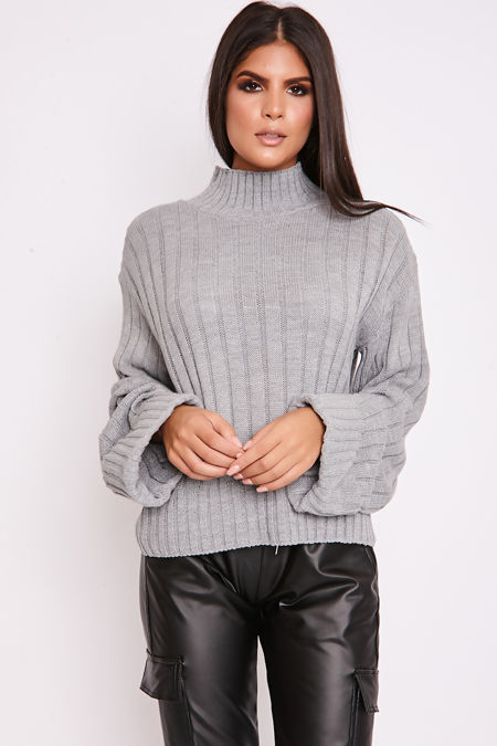 BELLA Grey Ribbed High Neck Knitted Jumper