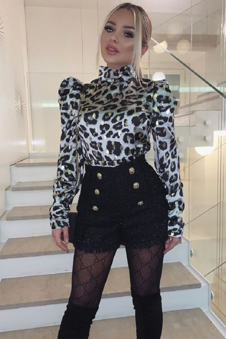 FRANKIE Grey Leopard Print Metallic Puff Sleeve Blouse
