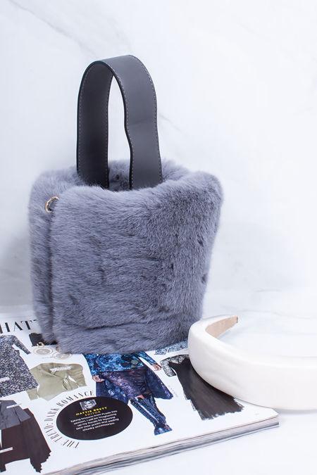 ISABELLA Grey Faux Fur Bucket Bag