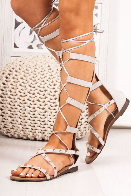 ANASTASIA Grey Faux Suede Stud Gladiator Sandals