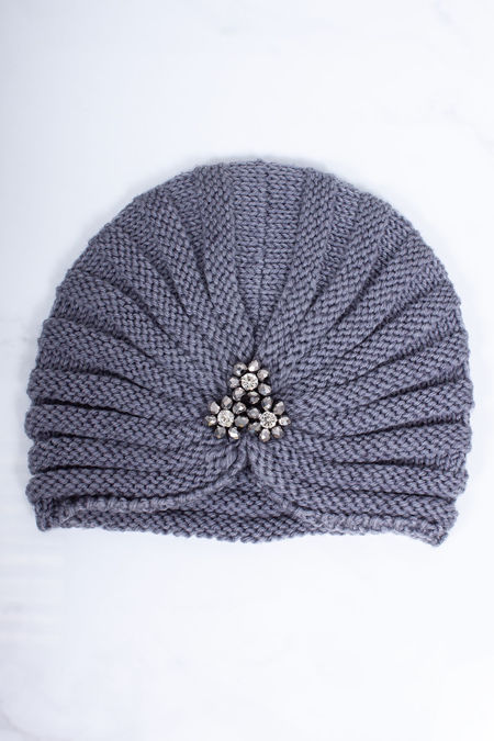 ADA Grey Embellished Turban Hat