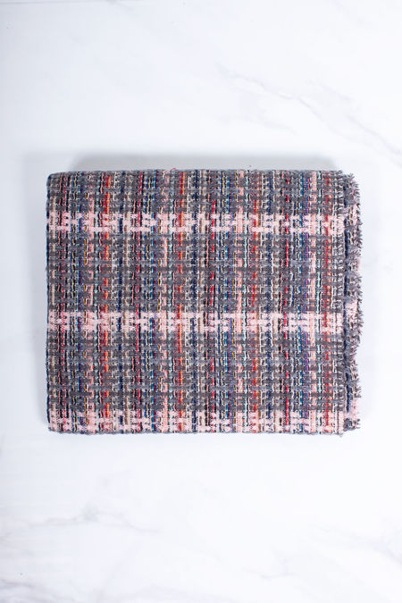 JAYLA Grey Woven Check Scarf
