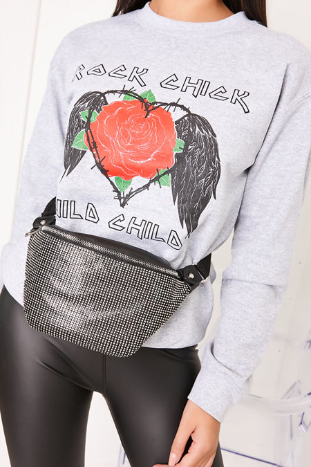 MELANIE Grey Rock Chick Slogan Jumper