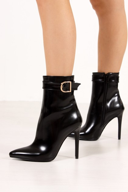 HADLEY Black Matte Buckle Strap Stiletto Boots