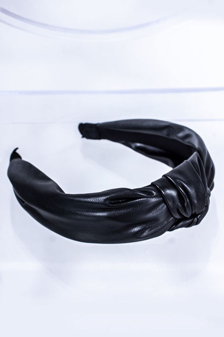 HALLIE Black Leather Knot Headband