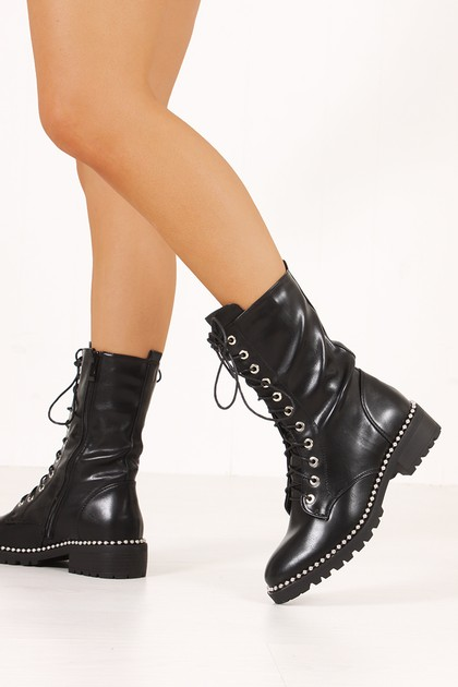 HANNA Black Silver Studded Lace Up Boots