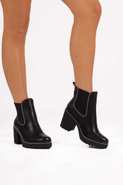 HARLEY Black PU Stud Heeled Ankle Boots