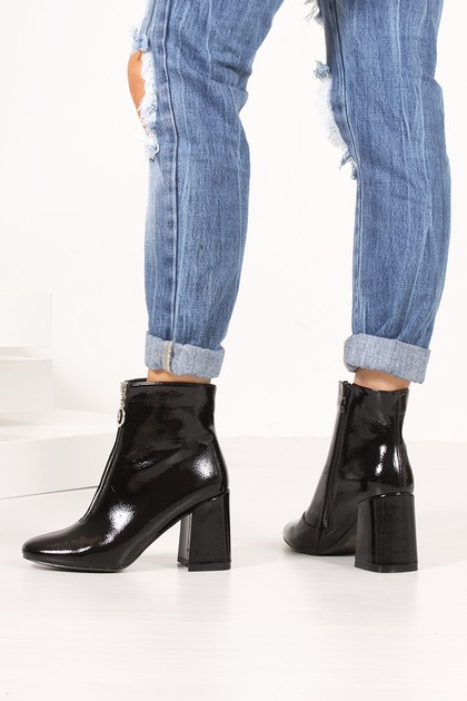 HOLLY Black High Shine Flared Block Heel Ankle Boots