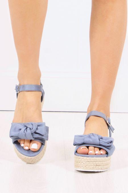 LEAH Blue Bow Espadrille Flatforms