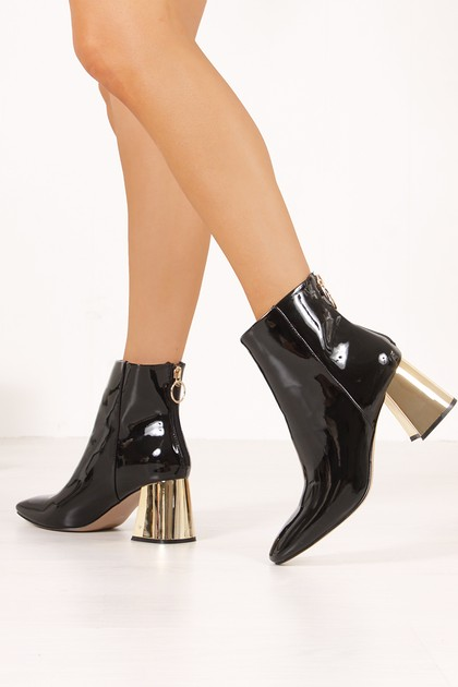 INDIA Black High Shine Gold Flared Block Heel Ankle Boots
