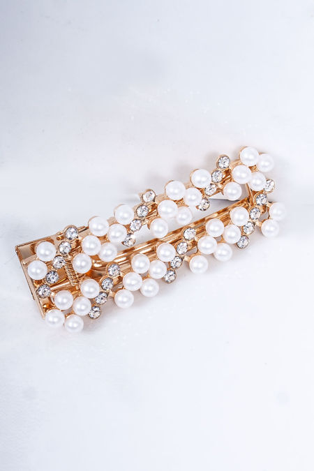 INDIA Gold Pearl Diamante Square Hair Slide