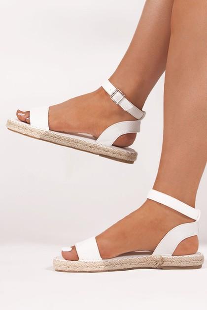 ISABELLA White Espadrille Sandals