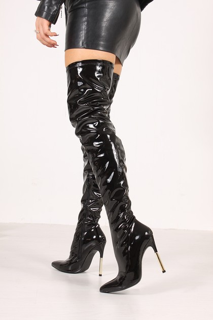 JANA Black High Shine Stiletto Thigh High Boots
