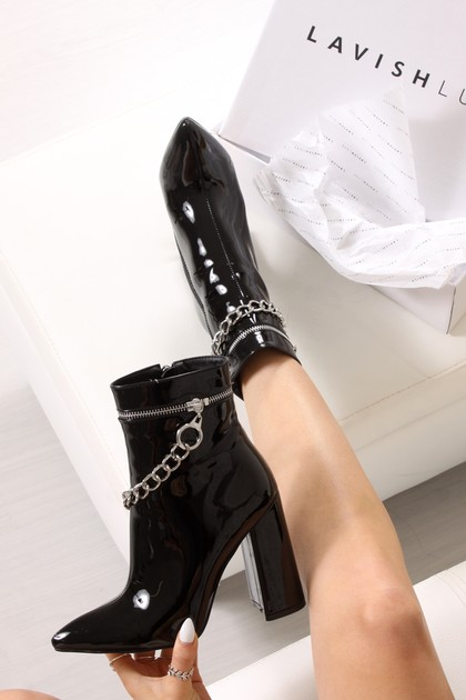 JAYLA Black Metallic Silver Chain Block Heel Boots