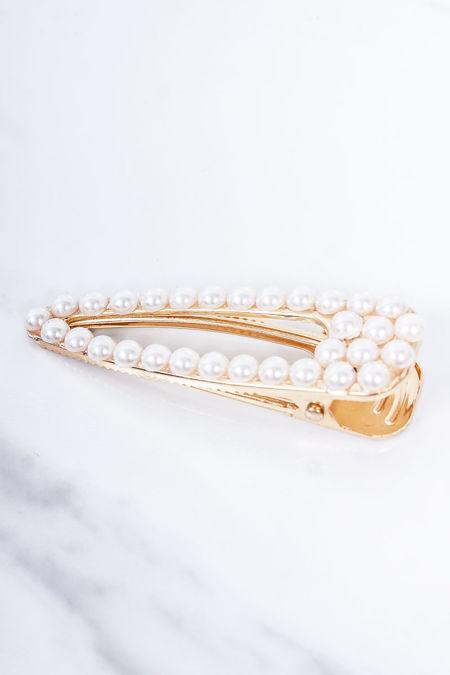 JUNE Gold Pearl Hair Clip