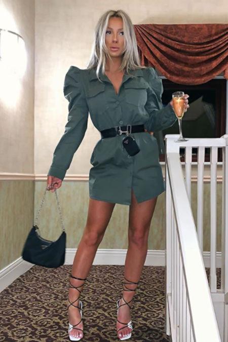 AMELIA Khaki Puff Sleeve Belted Shacket Dress