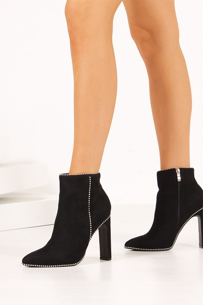 KYLIE Black Faux Suede Silver Stud Flat Heel Ankle Boots