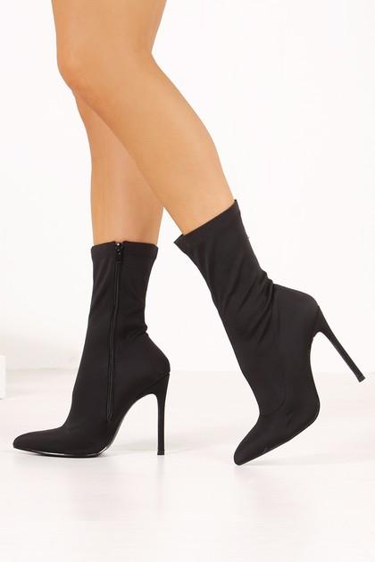LACEY Black Lycra Stiletto Sock Boots
