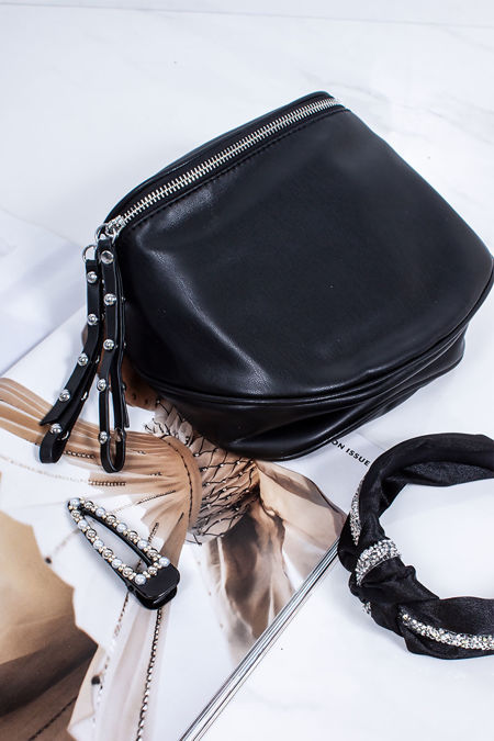 HEATHER Black Faux Leather Bum Bag