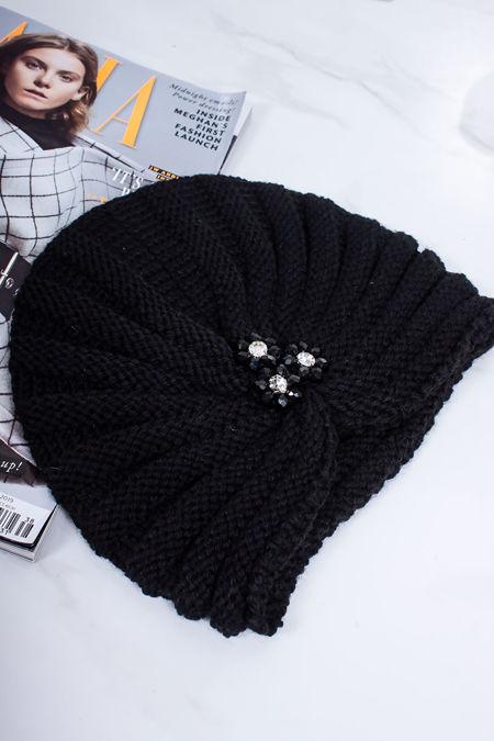 ADA Black Embellished Turban Hat