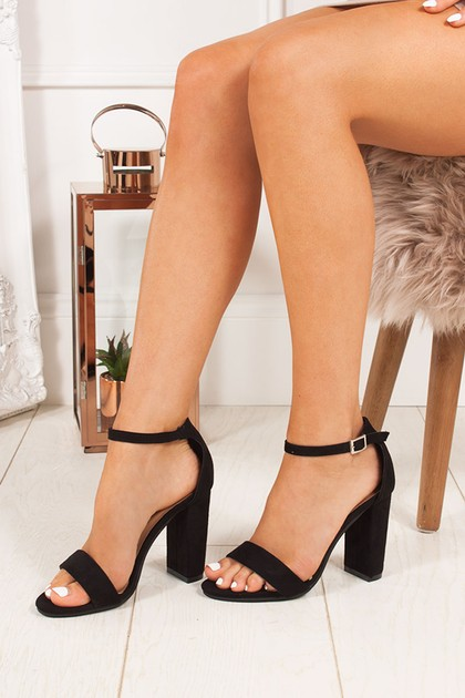 LAYLA Black Ankle Strap Chunky Heels